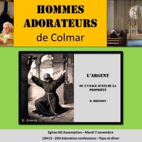 Mardi 7 novembre : Rencontre des hommes-adorateurs de Colmar (68)